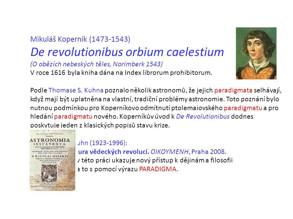 Mikuláš Koperník (1473-1543) De revolutionibus orbium caelestium (O obězích nebeských těles, Norimberk 1543) V roce 1616 byla kniha dána na Index librorum prohibitorum.