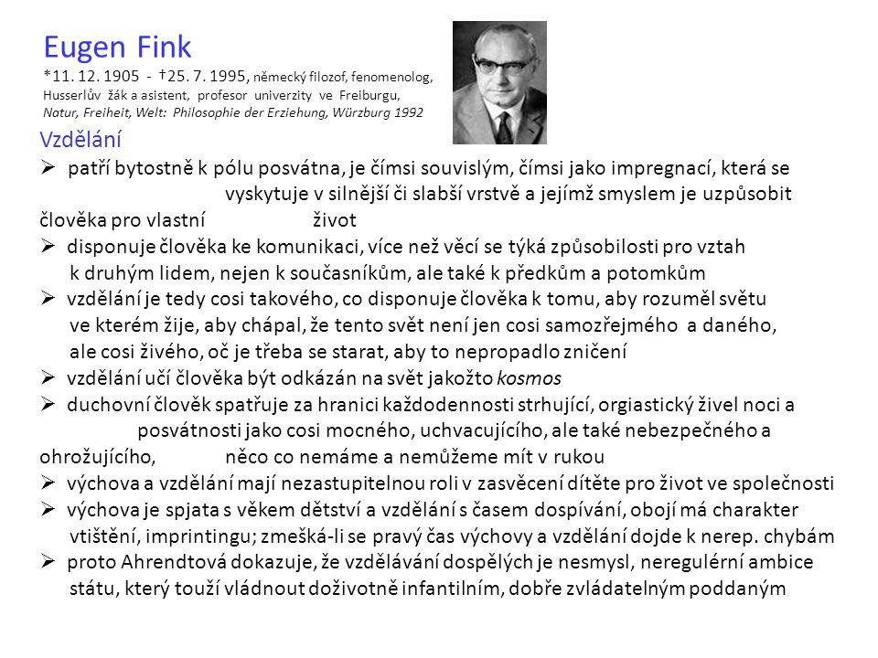 Eugen Fink *11. 12. 1905 - †25. 7. 1995, německý filozof, fenomenolog, Husserlův žák a asistent, profesor univerzity ve Freiburgu, Natur, Freiheit, We
