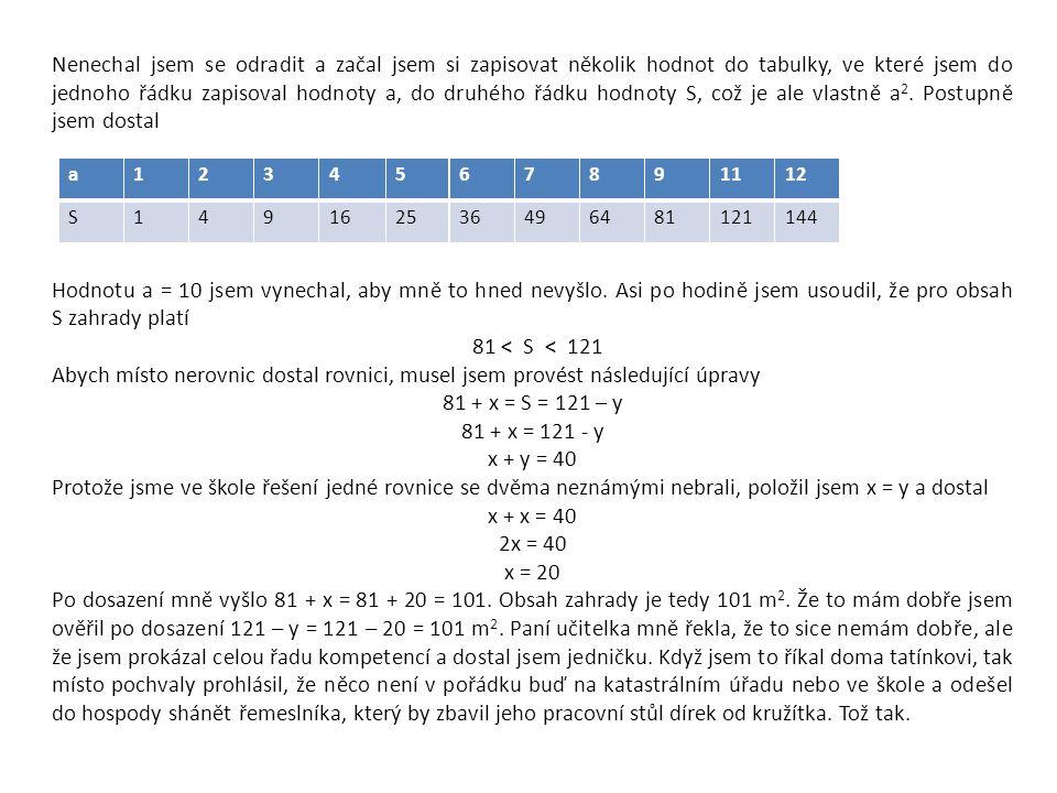 Nenechal jsem se odradit a začal jsem si zapisovat několik hodnot do tabulky, ve které jsem do jednoho řádku zapisoval hodnoty a, do druhého řádku hodnoty S, což je ale vlastně a 2.