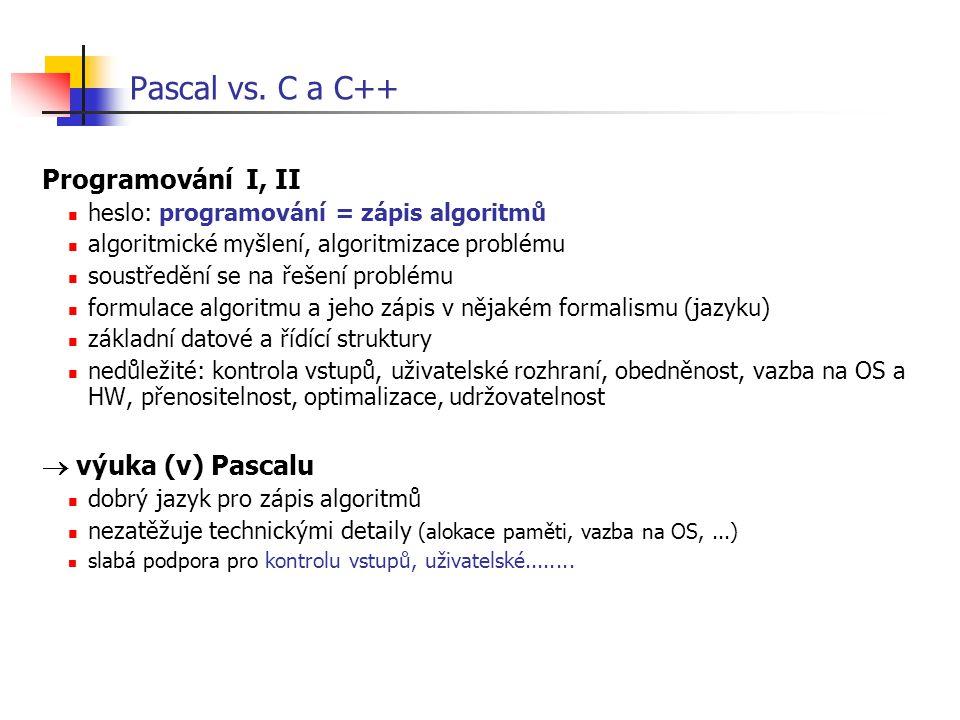 Pascal vs. C a C++ Programování I, II heslo: programování = zápis algoritmů algoritmické myšlení, algoritmizace problému soustředění se na řešení prob