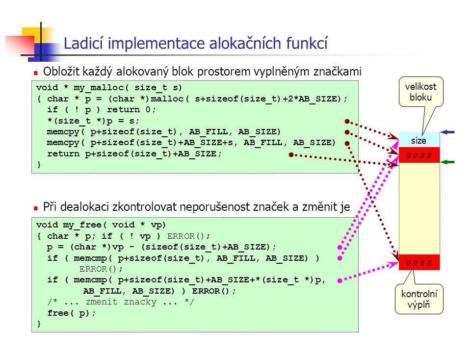 Ladicí implementace alokačních funkcí Obložit každý alokovaný blok prostorem vyplněným značkami Při dealokaci zkontrolovat neporušenost značek a změni