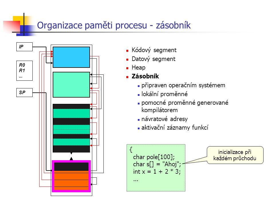 Organizace paměti procesu - zásobník Kódový segment Datový segment Heap Zásobník připraven operačním systémem lokální proměnné pomocné proměnné genero