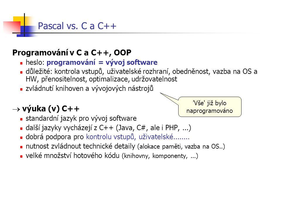 Pascal vs. C a C++ Programování v C a C++, OOP heslo: programování = vývoj software důležité: kontrola vstupů, uživatelské rozhraní, obedněnost, vazba