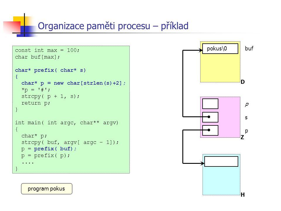 Organizace paměti procesu – příklad const int max = 100; char buf[max]; char* prefix( char* s) { char* p = new char[strlen(s)+2]; *p = '#'; strcpy( p