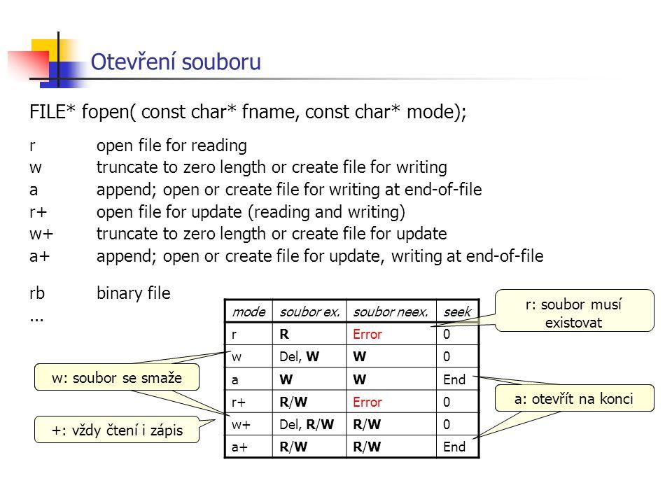 Otevření souboru FILE* fopen( const char* fname, const char* mode); ropen file for reading wtruncate to zero length or create file for writing aappend
