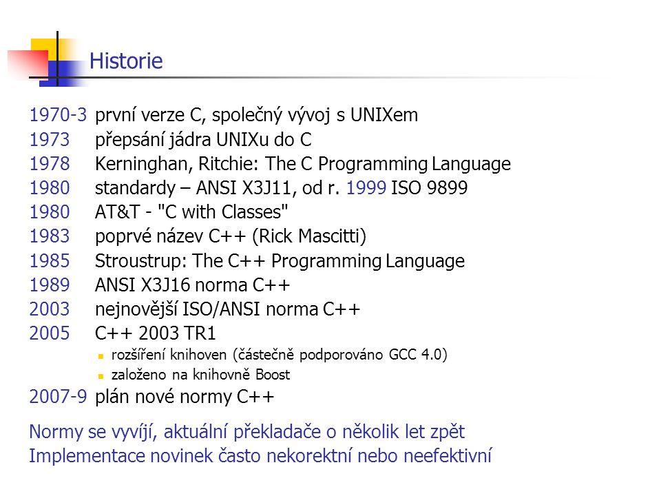 Historie 1970-3první verze C, společný vývoj s UNIXem 1973přepsání jádra UNIXu do C 1978Kerninghan, Ritchie: The C Programming Language 1980standardy