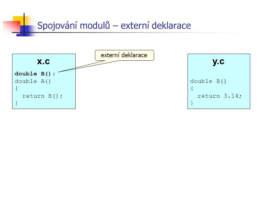 x.c double B(); double A() { return B(); } Spojování modulů – externí deklarace externí deklarace y.c double B() { return 3.14; }