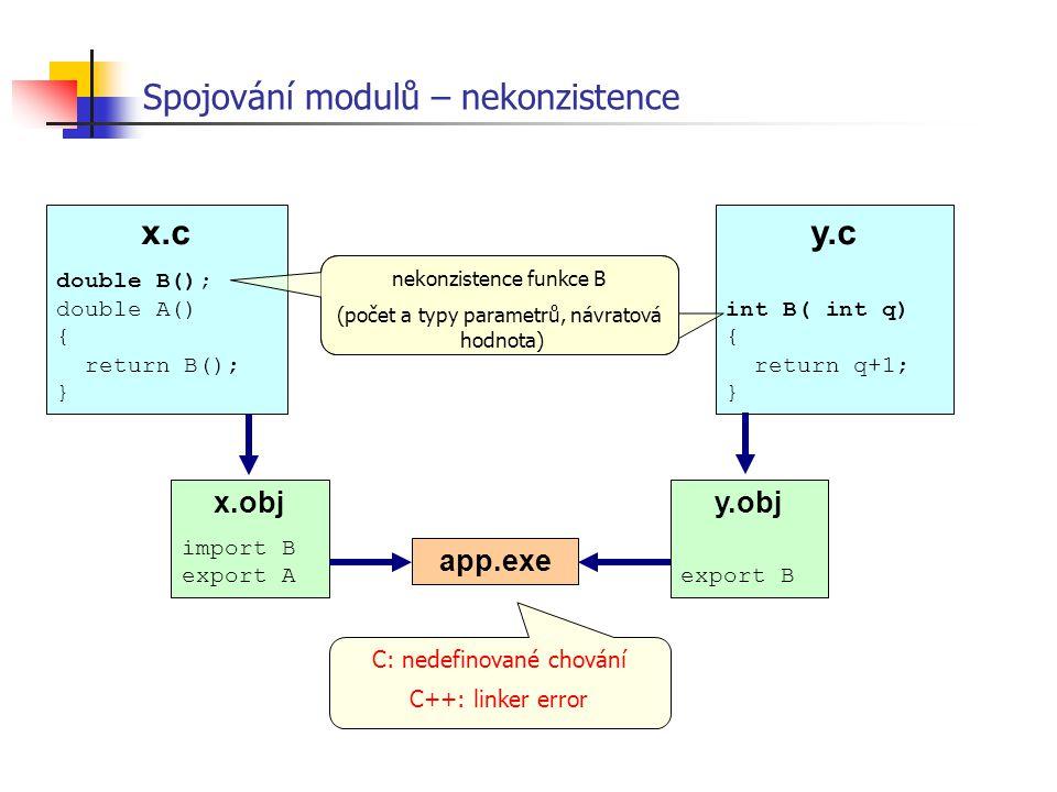 Spojování modulů – nekonzistence C: nedefinované chování C++: linker error x.c double B(); double A() { return B(); } y.c int B( int q) { return q+1;