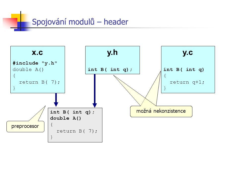Spojování modulů – header x.c #include