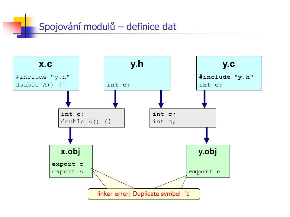y.obj export c Spojování modulů – definice dat x.c #include