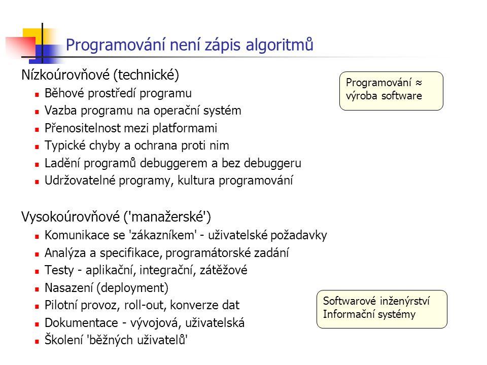 Programování není zápis algoritmů Nízkoúrovňové (technické) Běhové prostředí programu Vazba programu na operační systém Přenositelnost mezi platformam