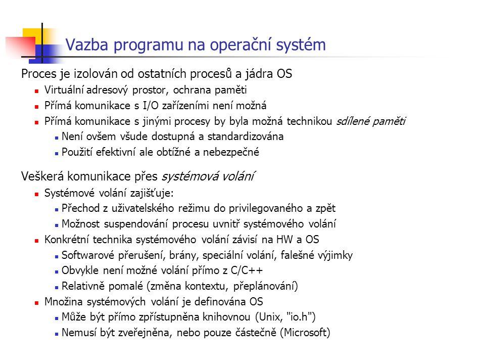 Vazba programu na operační systém Proces je izolován od ostatních procesů a jádra OS Virtuální adresový prostor, ochrana paměti Přímá komunikace s I/O