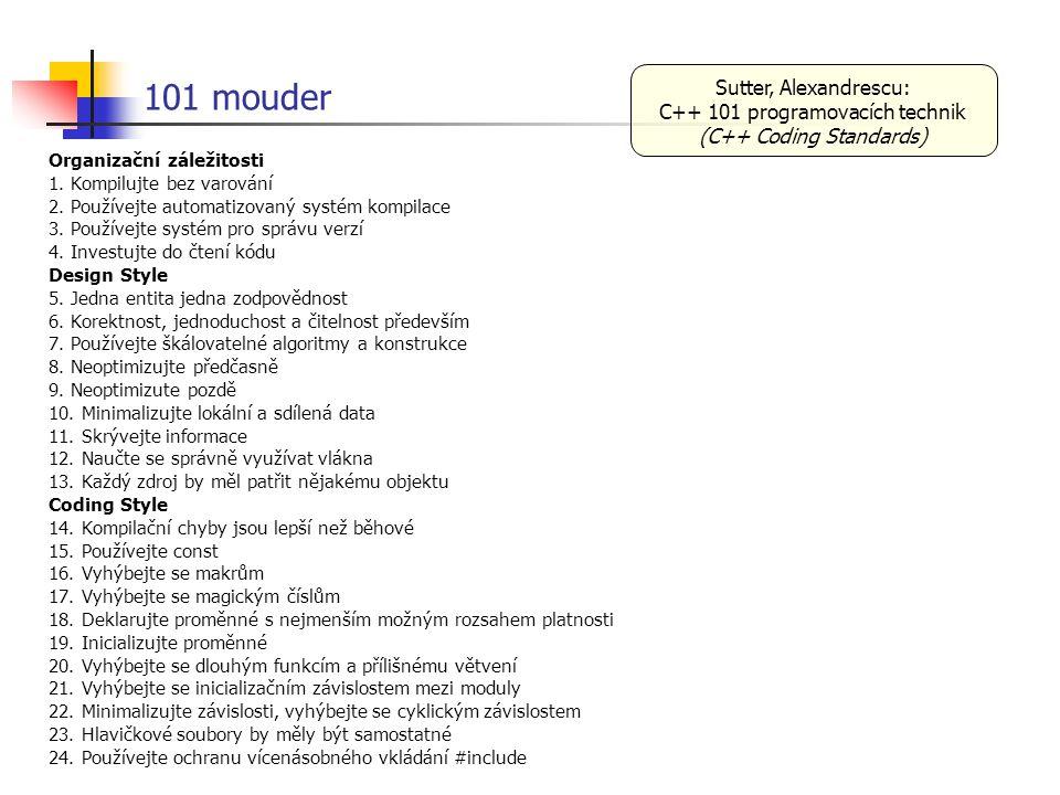 101 mouder Organizační záležitosti 1. Kompilujte bez varování 2. Používejte automatizovaný systém kompilace 3. Používejte systém pro správu verzí 4. I
