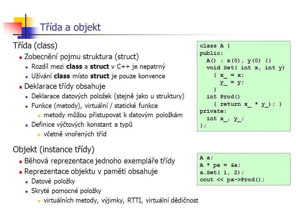 Třída a objekt Třída (class) Zobecnění pojmu struktura (struct) Rozdíl mezi class a struct v C++ je nepatrný Užívání class místo struct je pouze konve