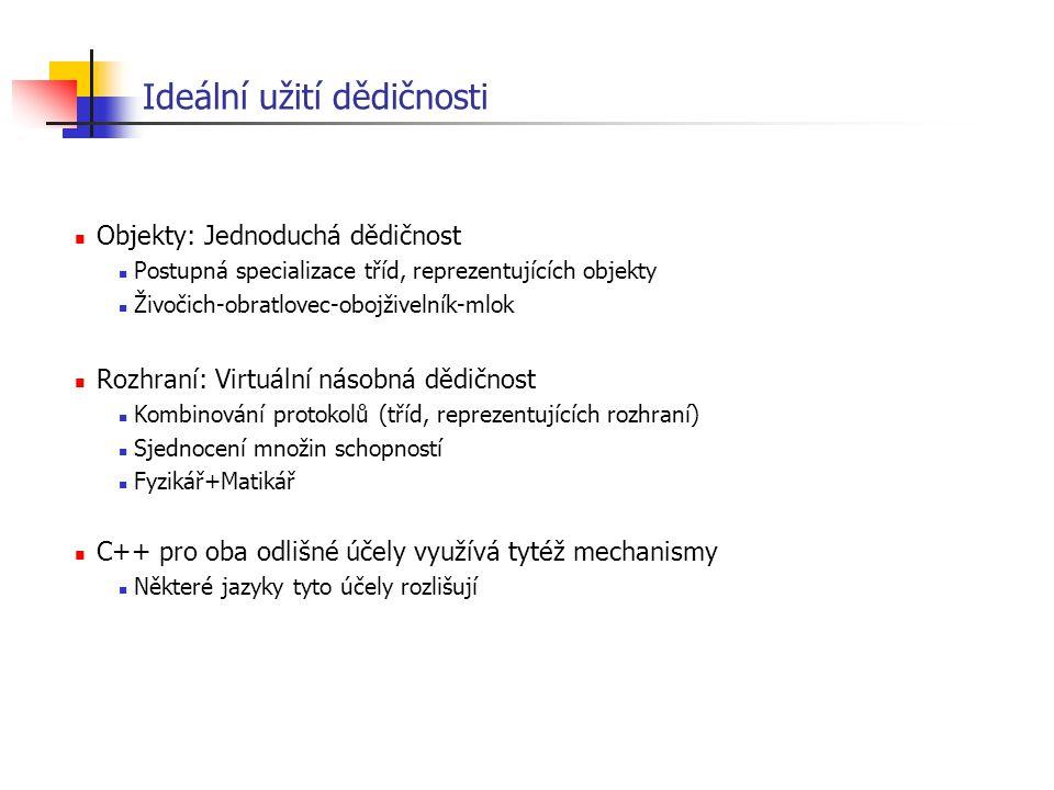 Ideální užití dědičnosti Objekty: Jednoduchá dědičnost Postupná specializace tříd, reprezentujících objekty Živočich-obratlovec-obojživelník-mlok Rozh