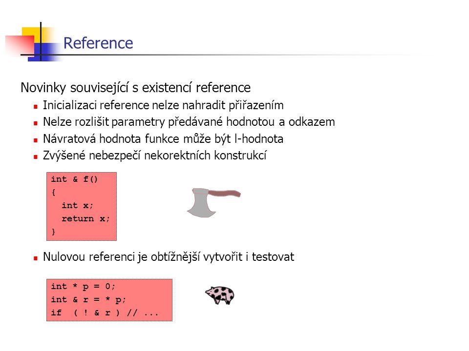 Reference Novinky související s existencí reference Inicializaci reference nelze nahradit přiřazením Nelze rozlišit parametry předávané hodnotou a odk