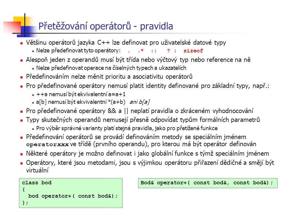 Přetěžování operátorů - pravidla Většinu operátorů jazyka C++ lze definovat pro uživatelské datové typy Nelze předefinovat tyto operátory:..* :: ? : s