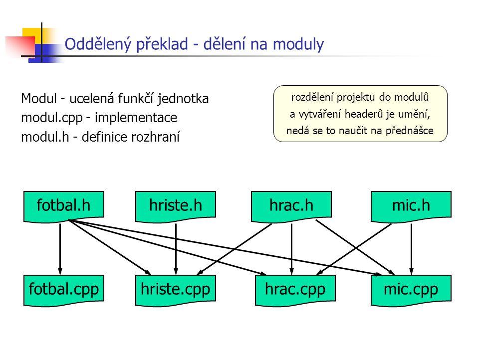 Modul - ucelená funkčí jednotka modul.cpp - implementace modul.h - definice rozhraní Oddělený překlad - dělení na moduly fotbal.cpp fotbal.h hriste.cp