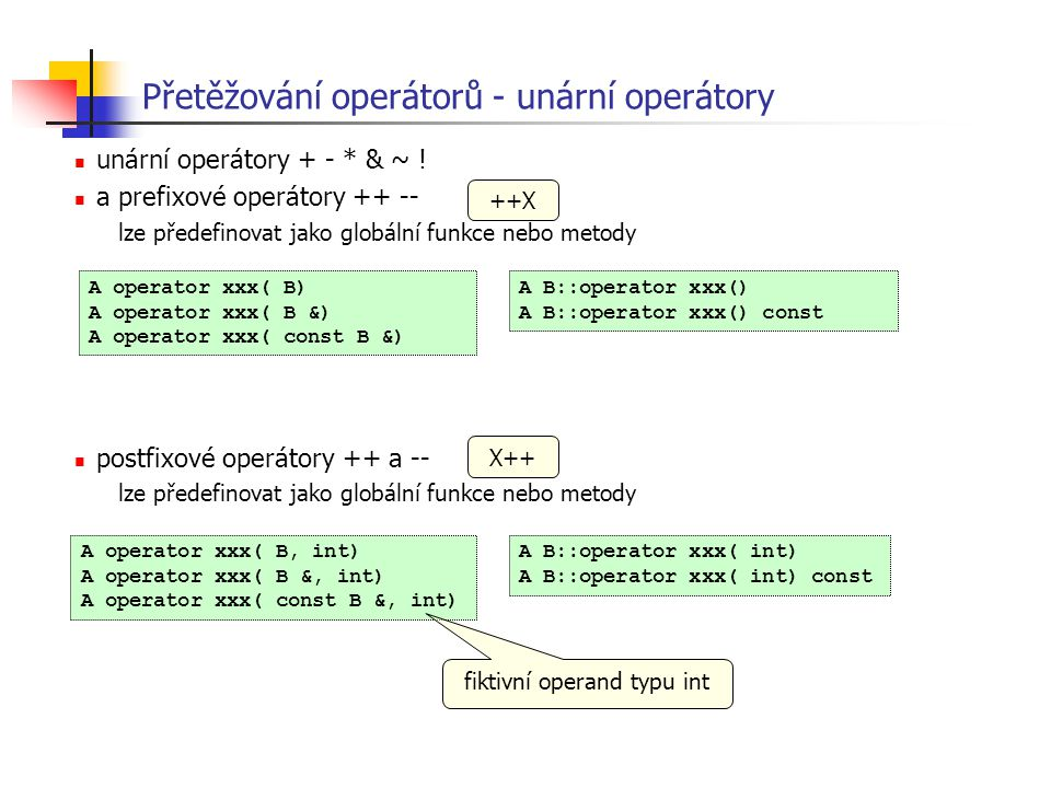 Přetěžování operátorů - unární operátory unární operátory + - * & ~ ! a prefixové operátory ++ -- lze předefinovat jako globální funkce nebo metody po