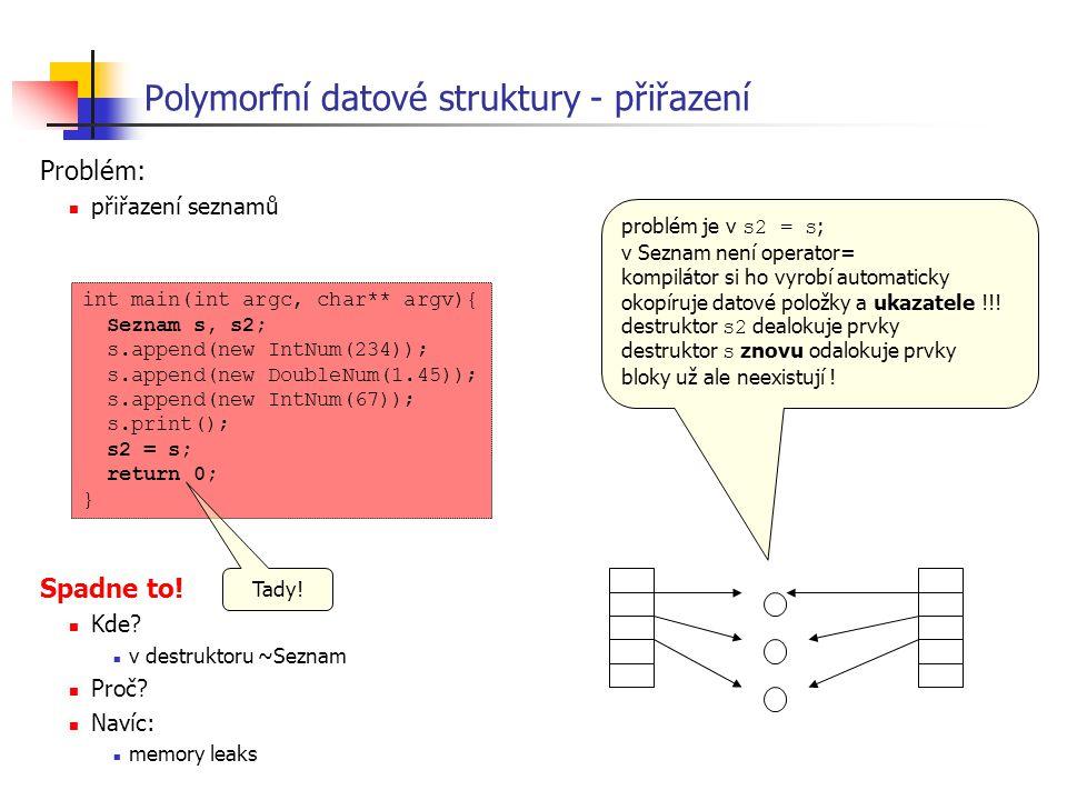 Polymorfní datové struktury - přiřazení Problém: přiřazení seznamů Spadne to! Kde? v destruktoru ~Seznam Proč? Navíc: memory leaks int main(int argc,