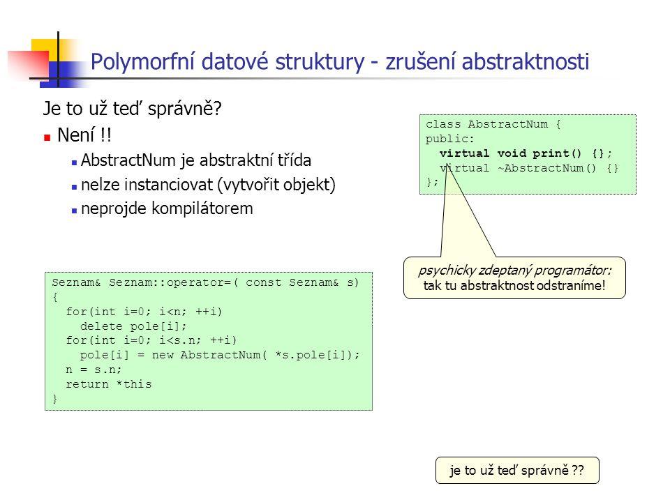 Polymorfní datové struktury - zrušení abstraktnosti Je to už teď správně? Není !! AbstractNum je abstraktní třída nelze instanciovat (vytvořit objekt)