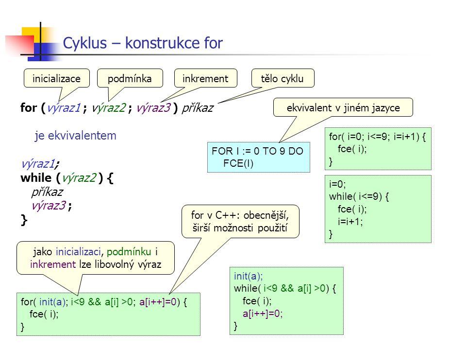 for (výraz1 ; výraz2 ; výraz3 ) příkaz je ekvivalentem výraz1; while (výraz2 ) { příkaz výraz3 ; } Cyklus – konstrukce for i=0; while( i<=9) { fce( i)