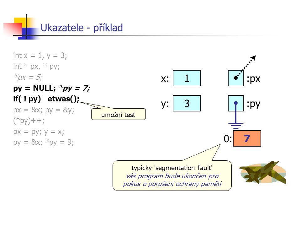Ukazatele - příklad int x = 1, y = 3; int * px, * py; *px = 5; py = NULL; *py = 7; if( ! py) etwas(); px = &x; py = &y; (*py)++; px = py; y = x; py =