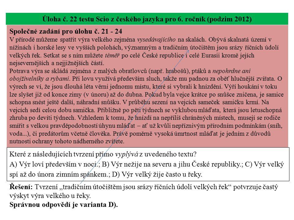 Úloha č. 22 testu Scio z českého jazyka pro 6. ročník (podzim 2012) Které z následujících tvrzení přímo vyplývá z uvedeného textu? A) Výr loví předevš