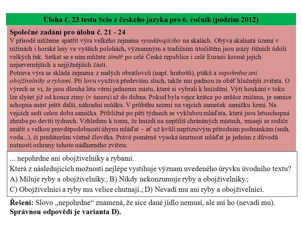Úloha č. 23 testu Scio z českého jazyka pro 6. ročník (podzim 2012)... nepohrdne ani obojživelníky a rybami. Která z následujících možností nejlépe vy