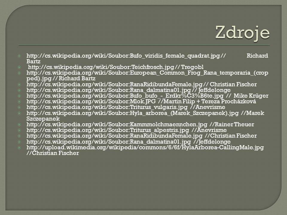 http://cs.wikipedia.org/wiki/Soubor:Bufo_viridis_female_quadrat.jpg //Richard Bartz  http://cs.wikipedia.org/wiki/Soubor:Teichfrosch.jpg // Tregobl