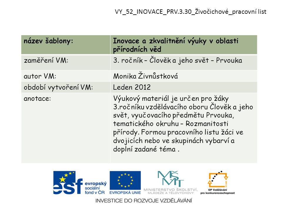 název šablony:Inovace a zkvalitnění výuky v oblasti přírodních věd zaměření VM:3.
