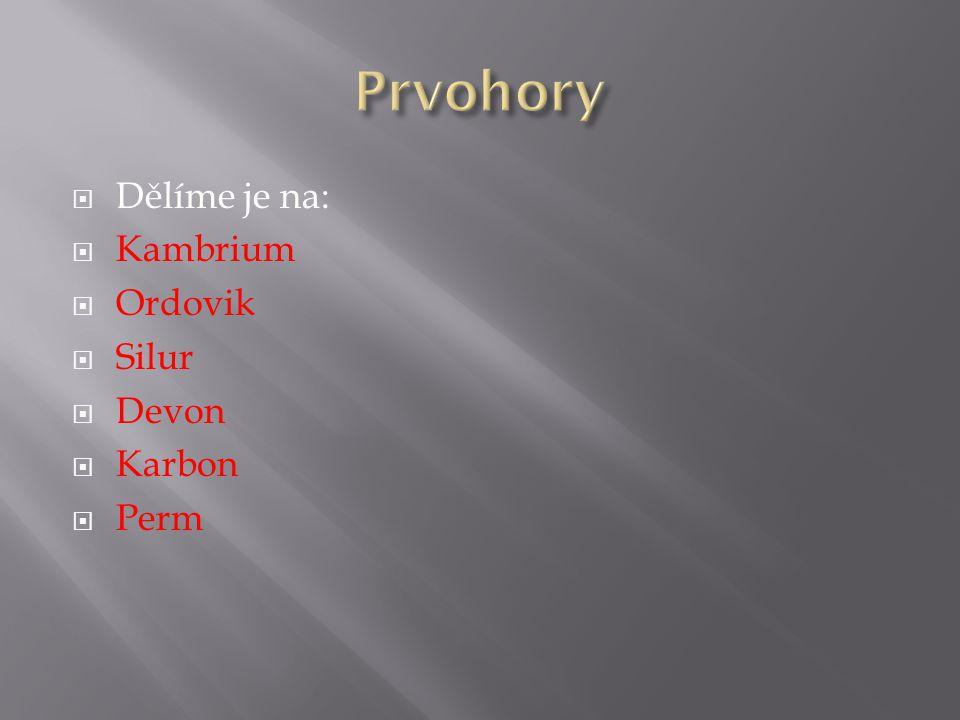  Dělíme je na:  Kambrium  Ordovik  Silur  Devon  Karbon  Perm