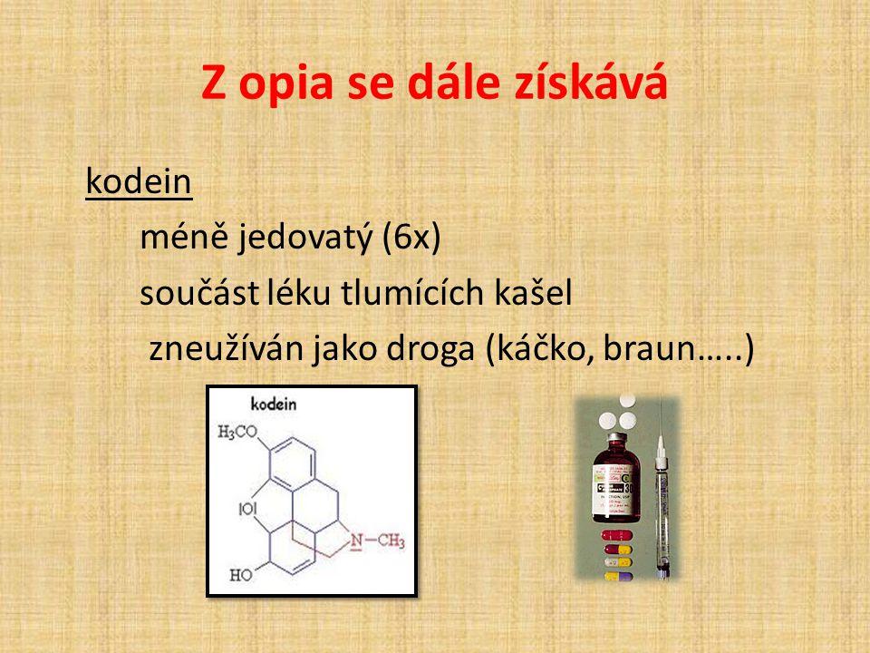 Z opia se dále získává kodein méně jedovatý (6x) součást léku tlumících kašel zneužíván jako droga (káčko, braun…..)