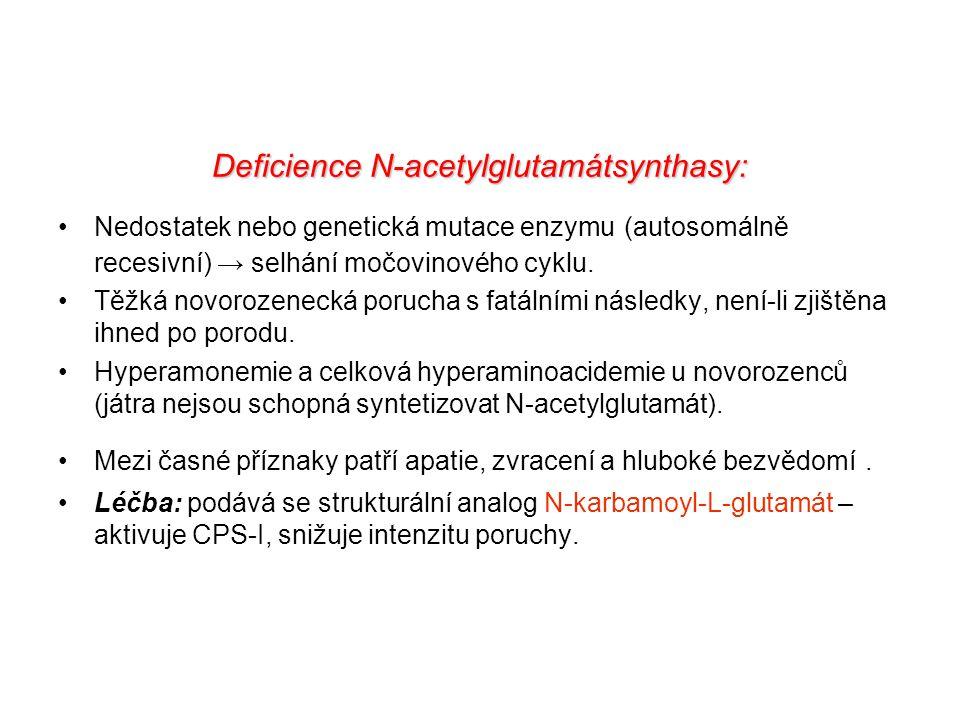 Deficience N-acetylglutamátsynthasy: Nedostatek nebo genetická mutace enzymu (autosomálně recesivní) → selhání močovinového cyklu. Těžká novorozenecká