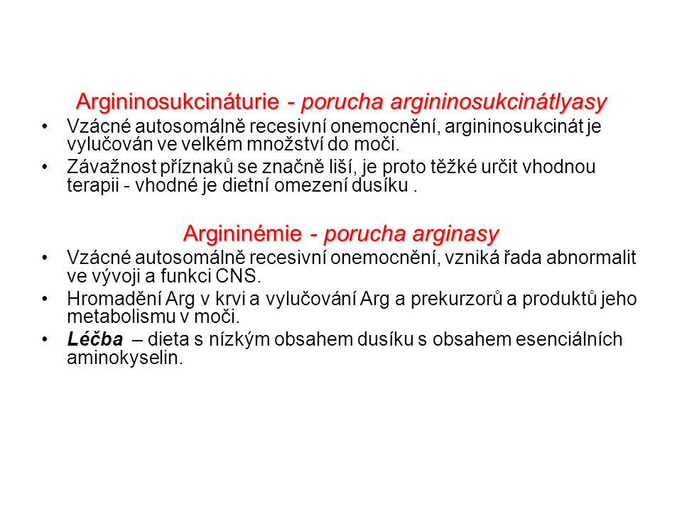 Argininosukcináturie - porucha argininosukcinátlyasy Vzácné autosomálně recesivní onemocnění, argininosukcinát je vylučován ve velkém množství do moči