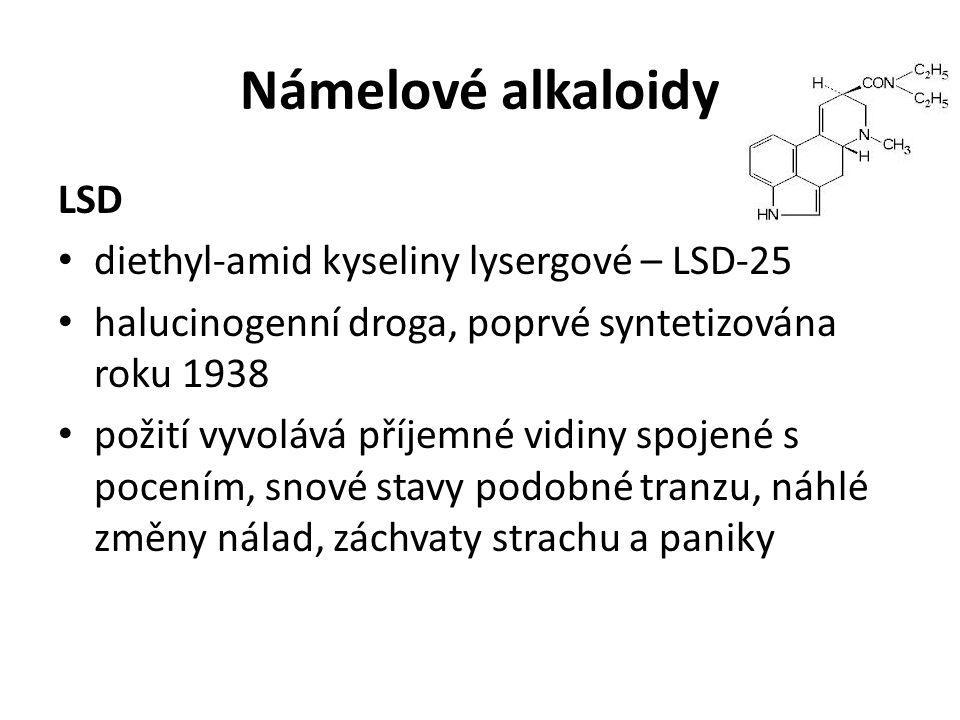 Námelové alkaloidy LSD diethyl-amid kyseliny lysergové – LSD-25 halucinogenní droga, poprvé syntetizována roku 1938 požití vyvolává příjemné vidiny sp