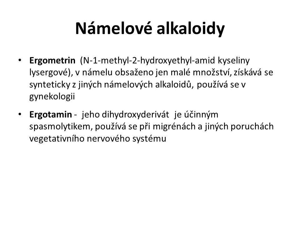 Námelové alkaloidy Ergometrin (N-1-methyl-2-hydroxyethyl-amid kyseliny lysergové), v námelu obsaženo jen malé množství, získává se synteticky z jiných