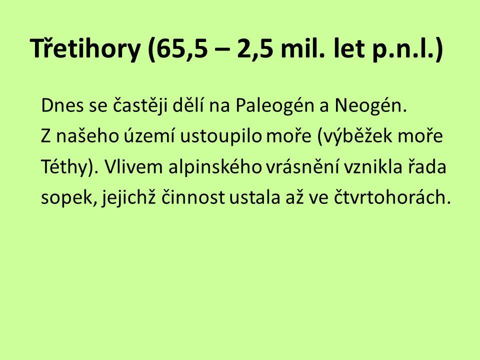 Třetihory (65,5 – 2,5 mil.let p.n.l.) Dnes se častěji dělí na Paleogén a Neogén.