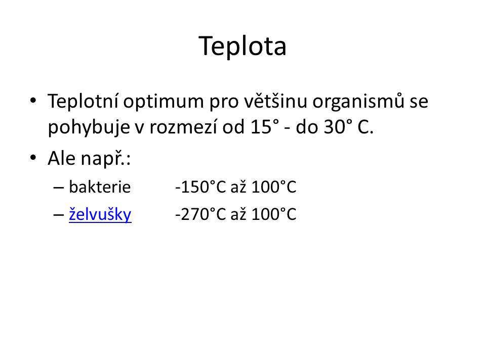 Teplota Teplotní optimum pro většinu organismů se pohybuje v rozmezí od 15° - do 30° C. Ale např.: – bakterie -150°C až 100°C – želvušky -270°C až 100