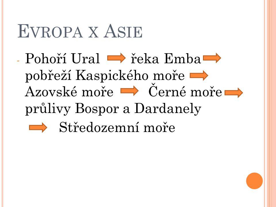 Krajní body: S – mys Nordkinn J – mys Marroqui Z – mys Roca V – Polární Ural