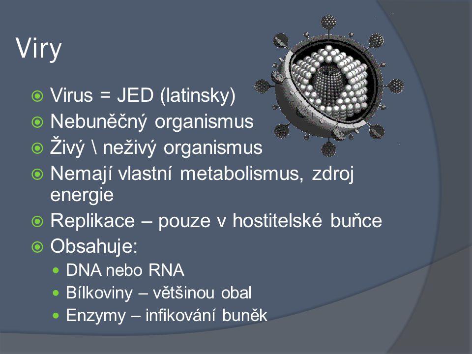 Viry  Virus = JED (latinsky)  Nebuněčný organismus  Živý \ neživý organismus  Nemají vlastní metabolismus, zdroj energie  Replikace – pouze v hostitelské buňce  Obsahuje: DNA nebo RNA Bílkoviny – většinou obal Enzymy – infikování buněk