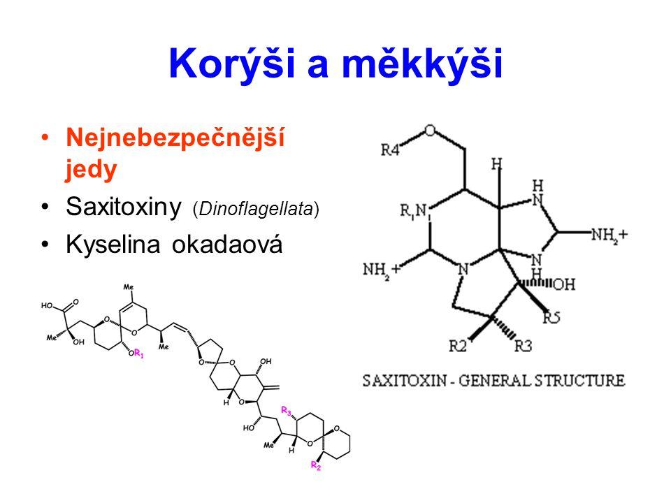 Korýši a měkkýši Nejnebezpečnější jedy Saxitoxiny (Dinoflagellata) Kyselina okadaová
