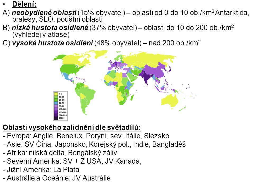 Dělení: A) neobydlené oblasti (15% obyvatel) – oblasti od 0 do 10 ob./km 2 Antarktida, pralesy, SLO, pouštní oblasti B) nízká hustota osídlené (37% ob