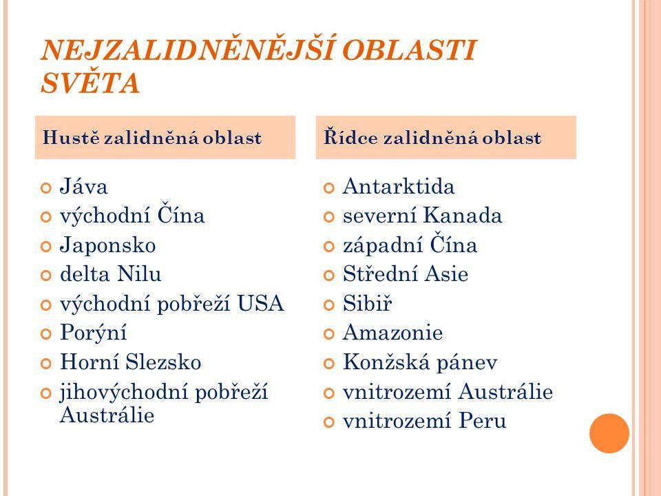 NEJZALIDNĚNĚJŠÍ OBLASTI SVĚTA Jáva východní Čína Japonsko delta Nilu východní pobřeží USA Porýní Horní Slezsko jihovýchodní pobřeží Austrálie Antarkti