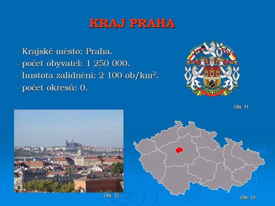 KRAJ PRAHA - Krajské město: Praha.- počet obyvatel: 1 250 000.