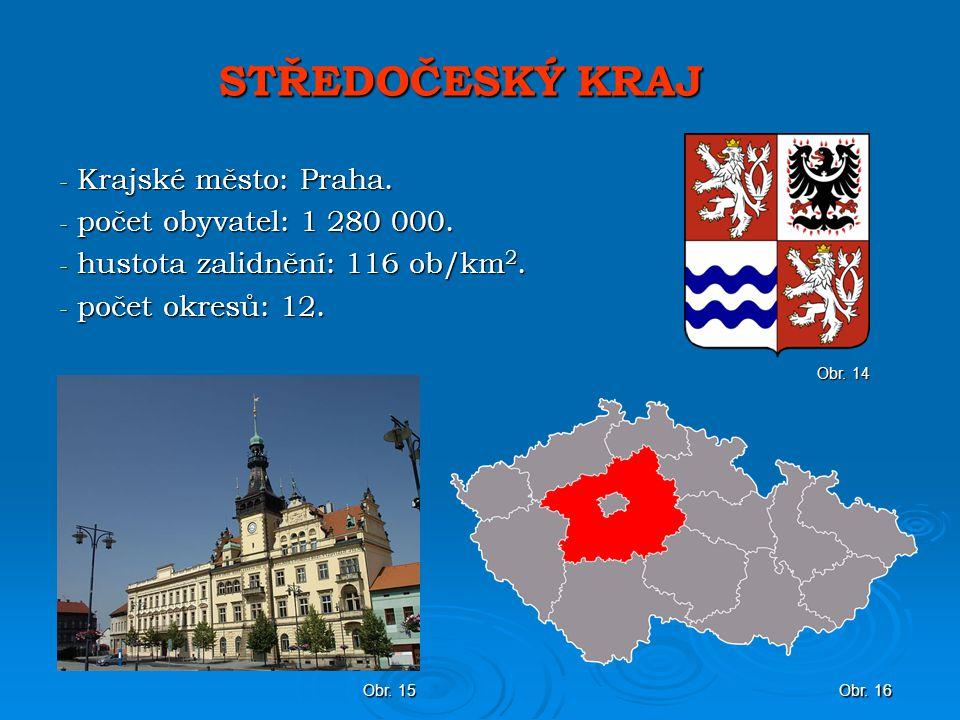 STŘEDOČESKÝ KRAJ - Krajské město: Praha.- počet obyvatel: 1 280 000.