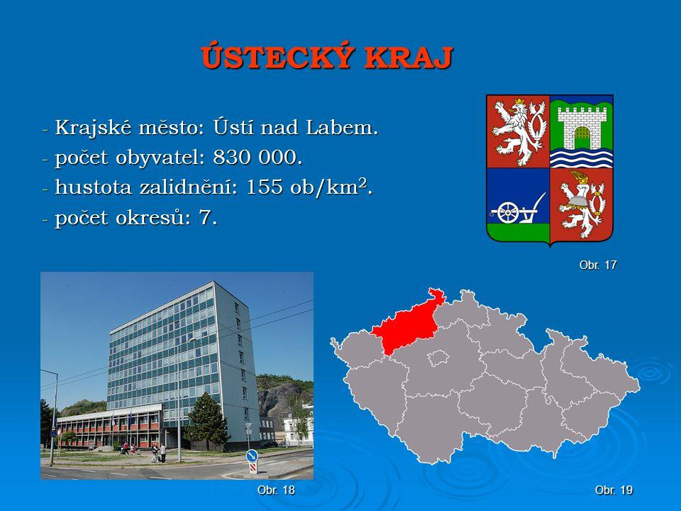 ÚSTECKÝ KRAJ - Krajské město: Ústí nad Labem.- počet obyvatel: 830 000.