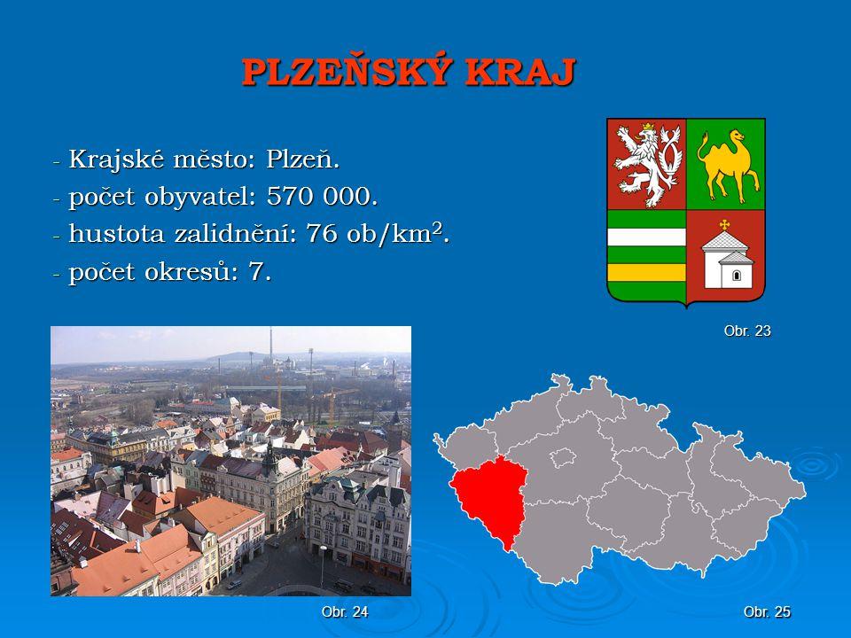 PLZEŇSKÝ KRAJ - Krajské město: Plzeň.- počet obyvatel: 570 000.