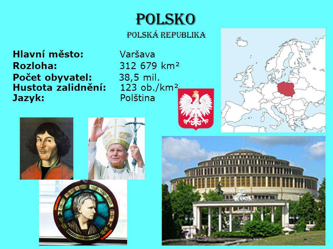 POLSKO Hlavní město: Varšava Rozloha: 312 679 km² Počet obyvatel: 38,5 mil. Hustota zalidnění: 123 ob./km² Jazyk: Polština Polská republika