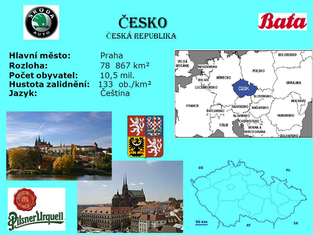 Č ESKO Hlavní město: Praha Rozloha: 78 867 km² Počet obyvatel: 10,5 mil. Hustota zalidnění: 133 ob./km² Jazyk: Čeština Č eská republika
